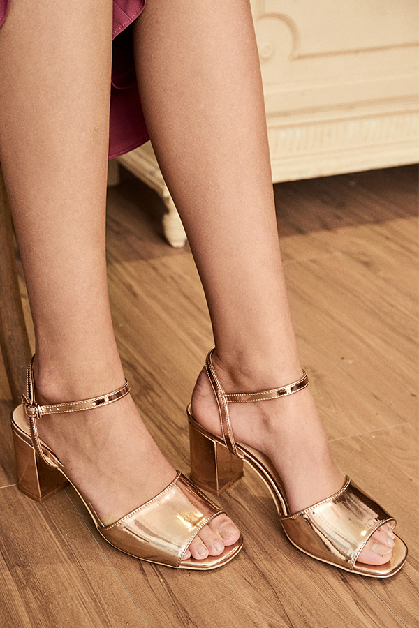 Meri Low Block Heels in Rose Gold