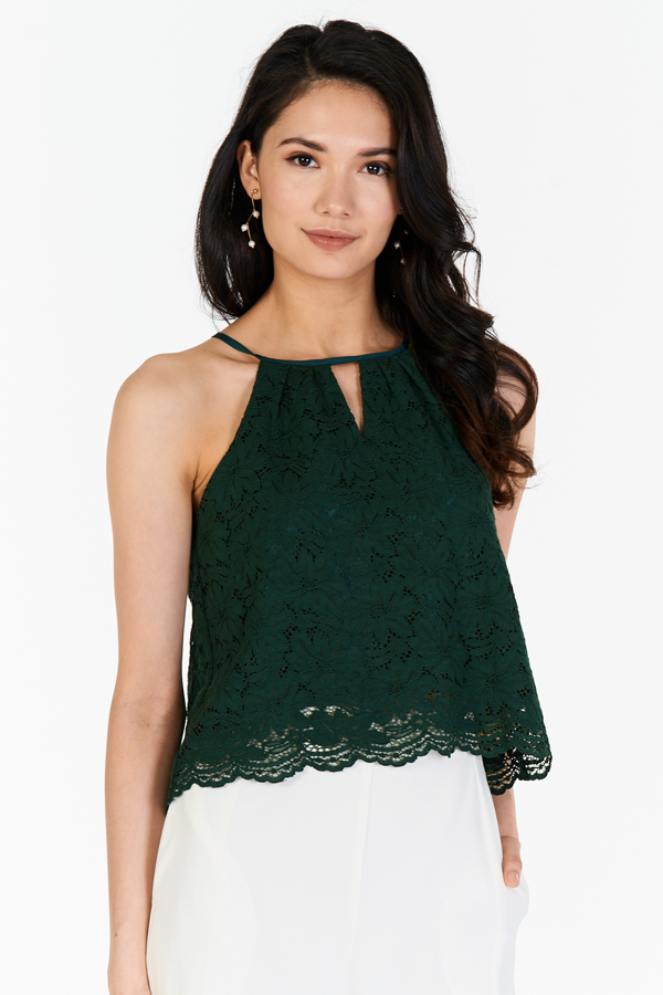Folk Lace Top in Forest