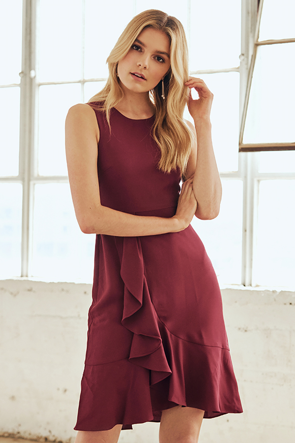 *W. By TCL* Genesis Ruffles Dress in Wine