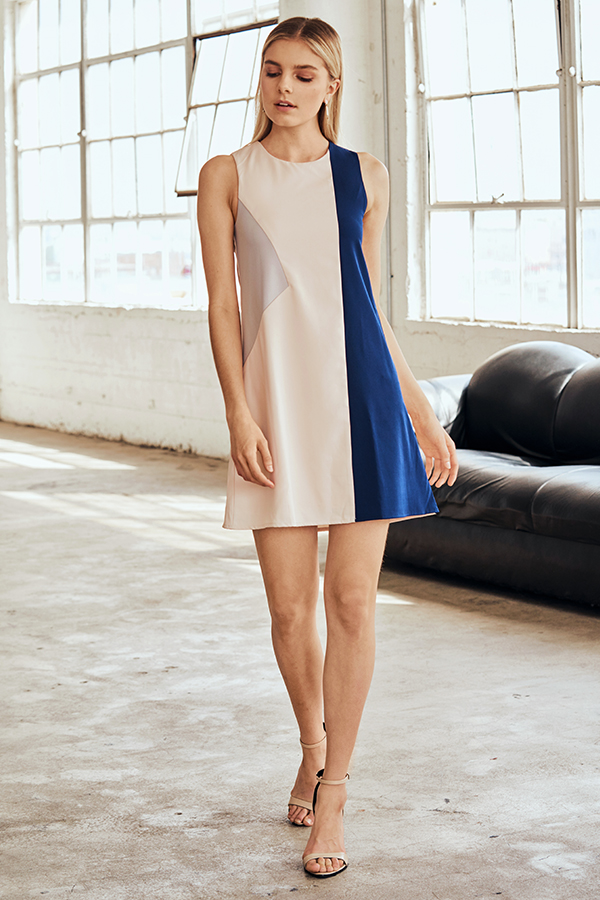 *W. By TCL* Shelby Colourblock Dress in Cream