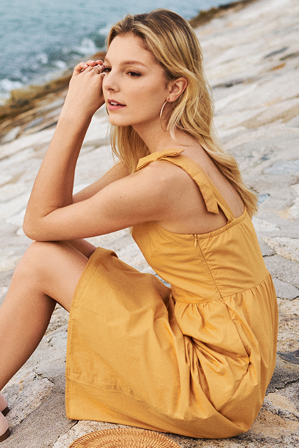 Acacia Ribbon Strap Dress in Marigold