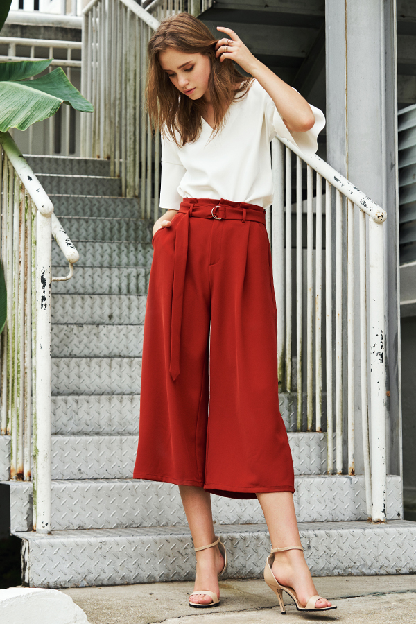 Novitta Belted Culottes in Burnt Orange