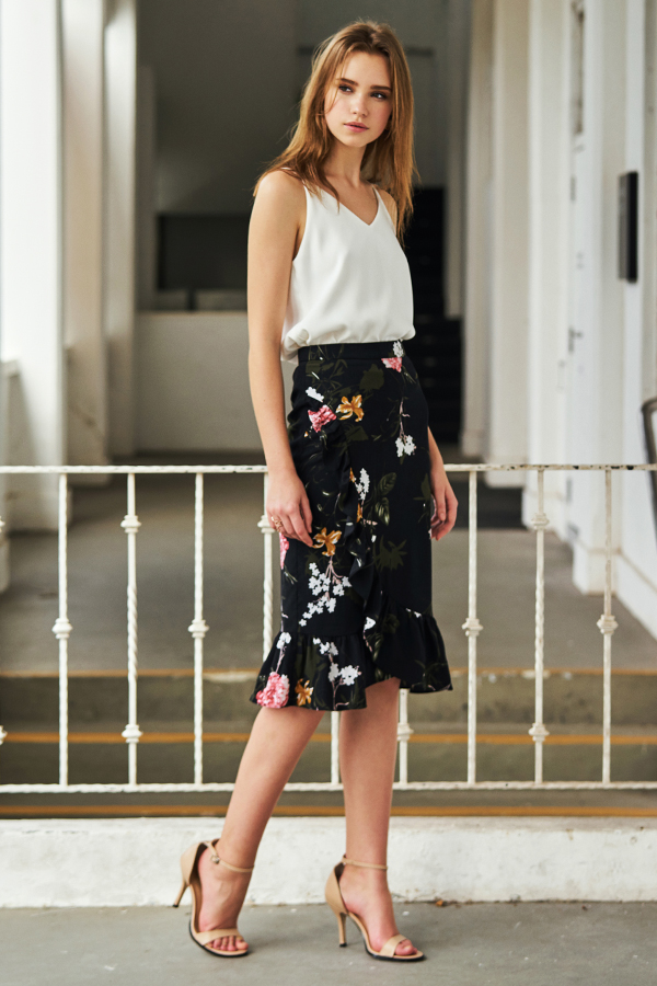 Ellia Ruffled Floral Printed Skirt