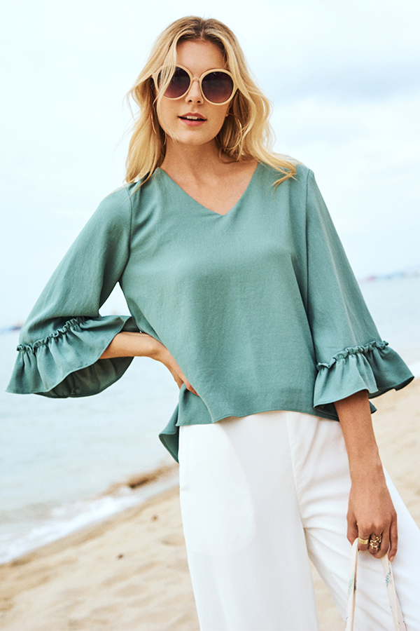 Marleigh Ruffled Sleeve Top in Seafoam