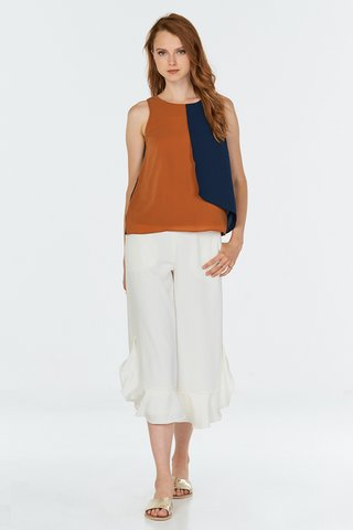 Alvena Colourblock Top in Burnt Orange