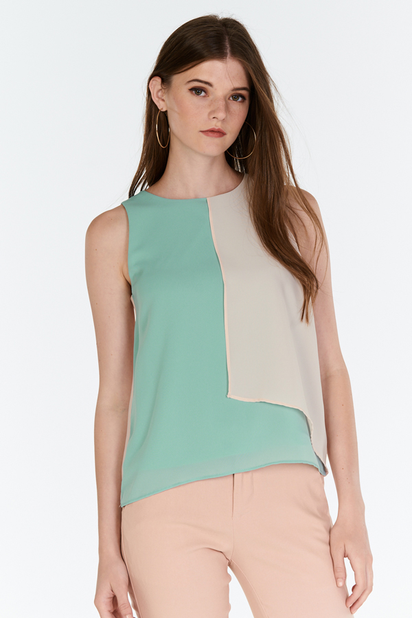 Alvena Colourblock Top in Seafoam