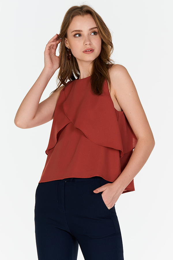 Karryn Ruffled Top in Rust (L/ XL)