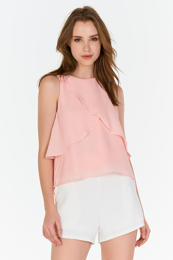 *Backorder* Karryn Ruffled Top in Pink