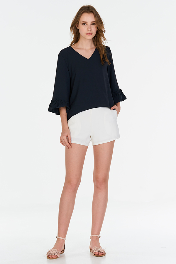 Marleigh Ruffled Sleeve Top in Navy