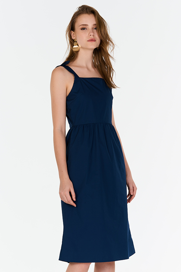Acacia Ribbon Strap Dress in Navy