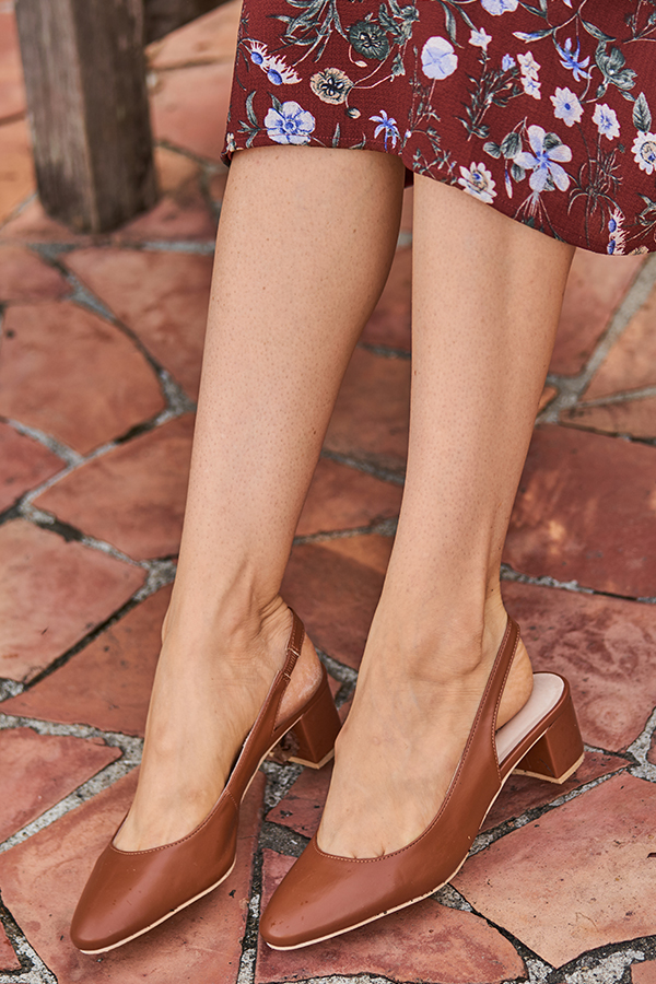 Hollie Leather Slingback Heels in Tan