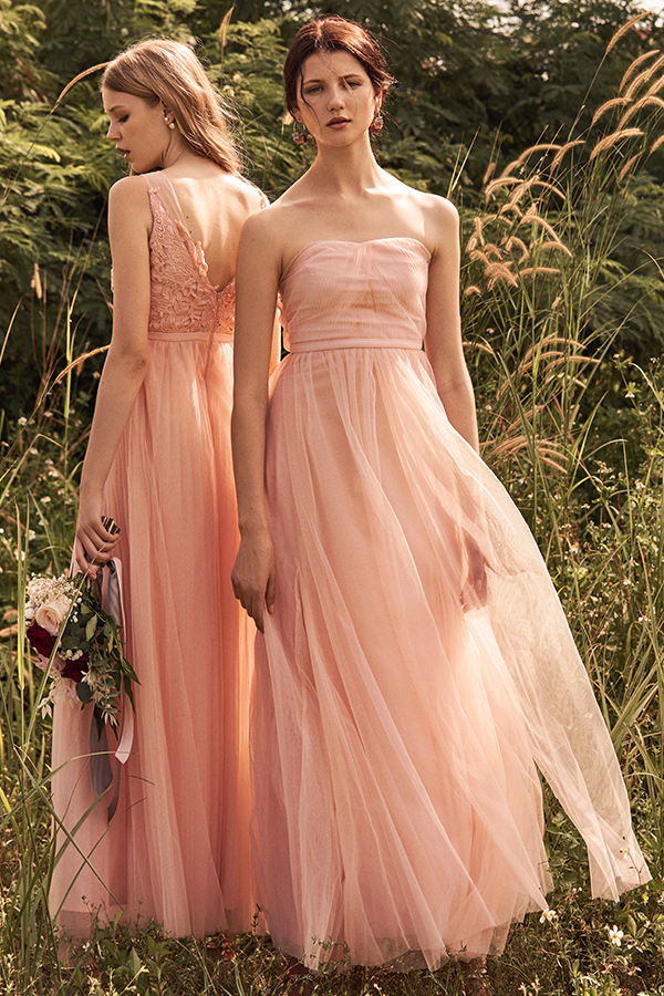 Vida Pleated Tulle Maxi Dress in Pink