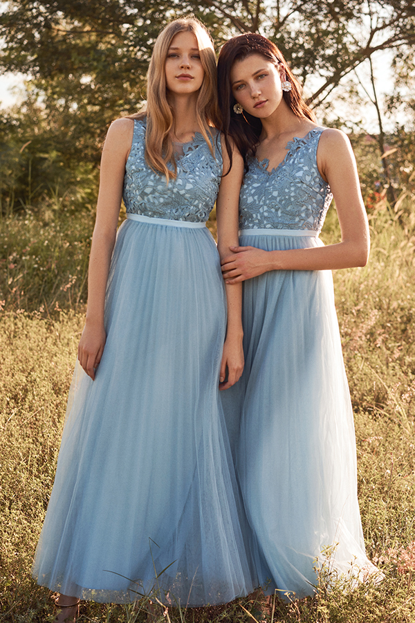 Grania Pleated Tulle Maxi Dress in Powder Blue