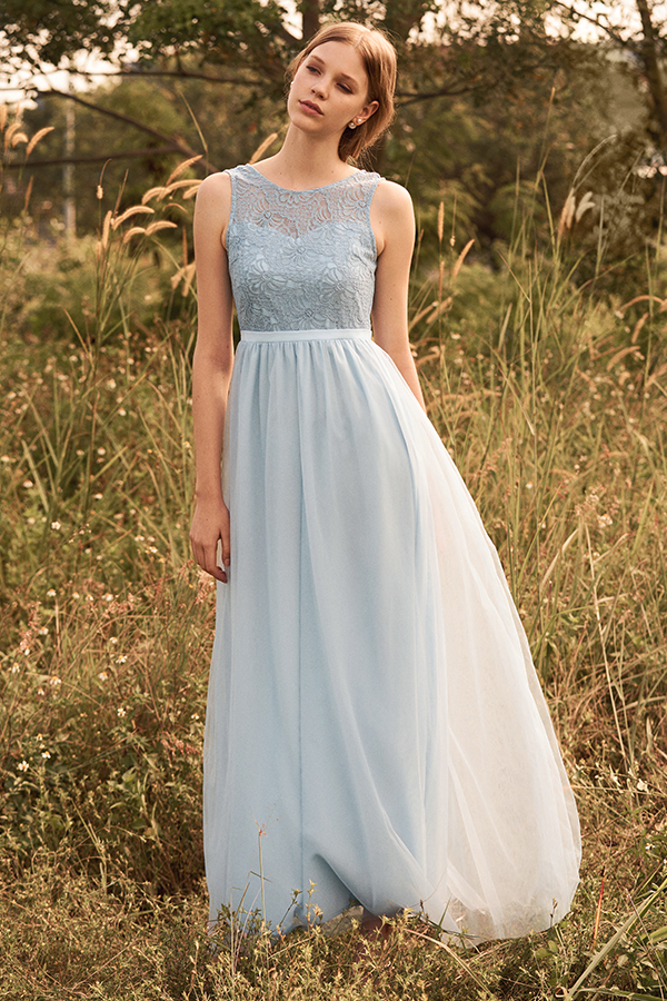 Kenna Tulle Maxi Dress in Powder Blue