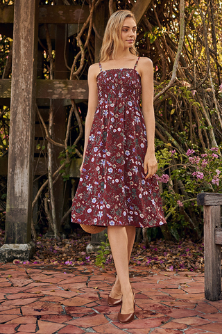 Adalynn Floral Printed Midi Dress in Russet Brown