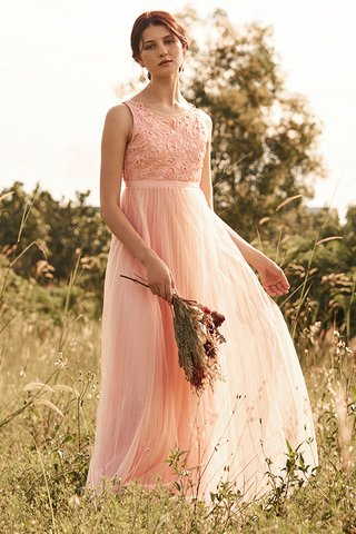 Grania Pleated Tulle Maxi Dress in Pink