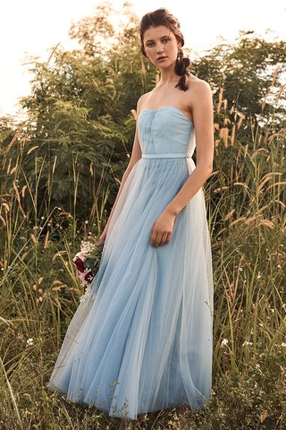 Vida Pleated Tulle Maxi Dress in Powder Blue