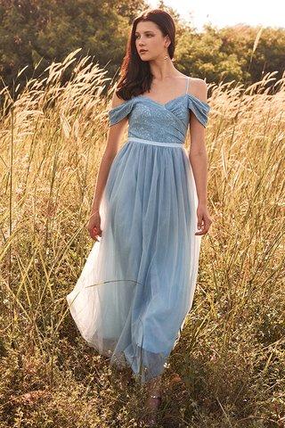 Amor Cold Shoulder Maxi Dress in Powder Blue