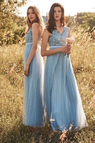 Ellen Pleated Tulle Maxi Dress in Powder Blue