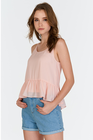 Audrina Babydoll Top in Pink