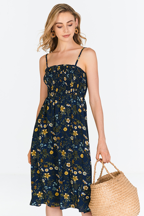 Adalynn Floral Printed Midi Dress in Navy