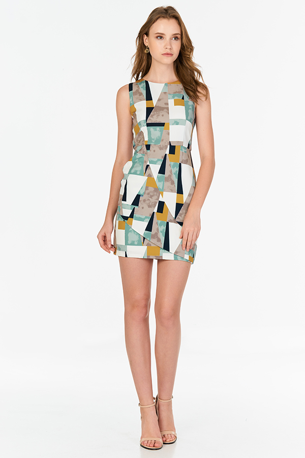 Hester Geometric Printed Skater Dress in Seafoam