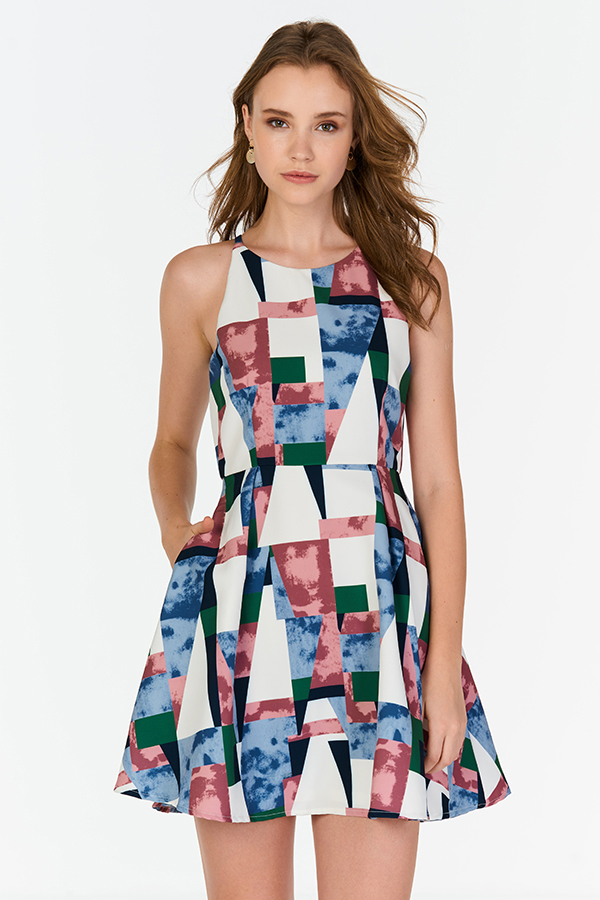 Hester Geometric Printed Halter Neck Dress in Blue