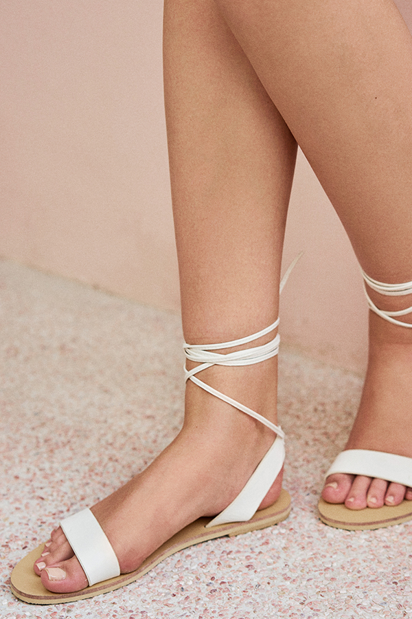 Nyla Lace Up Sandals in White