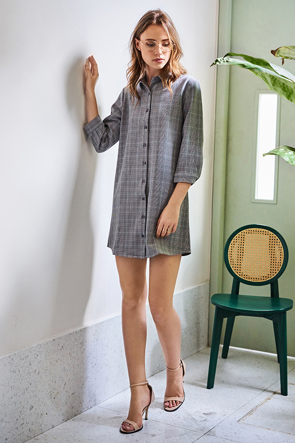 Milae Gingham Shirt Dress