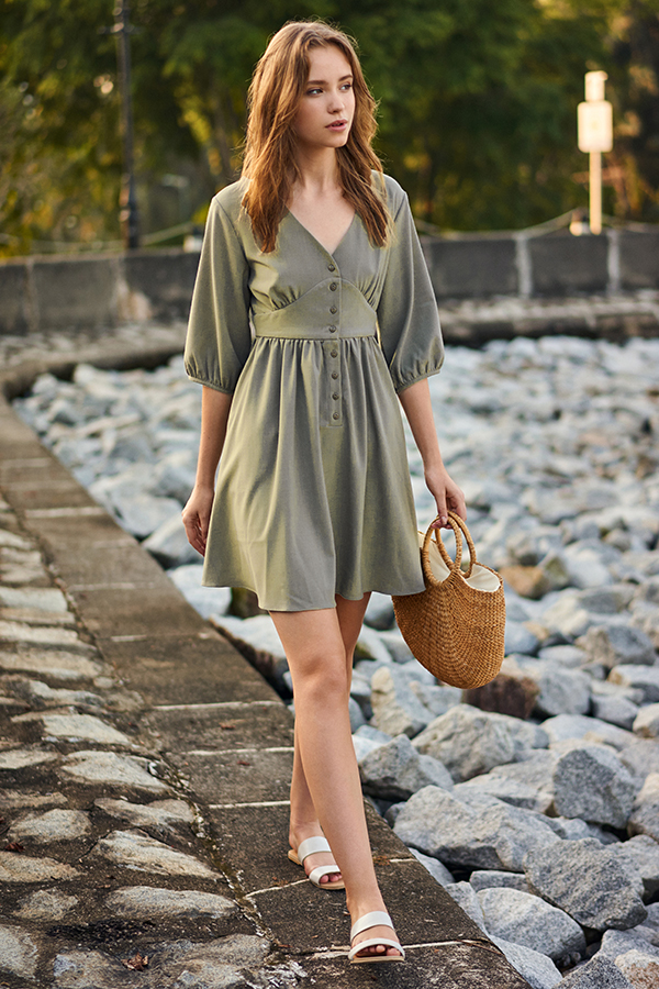 *Backorder* Averyn Buttoned Dress in Agave Green