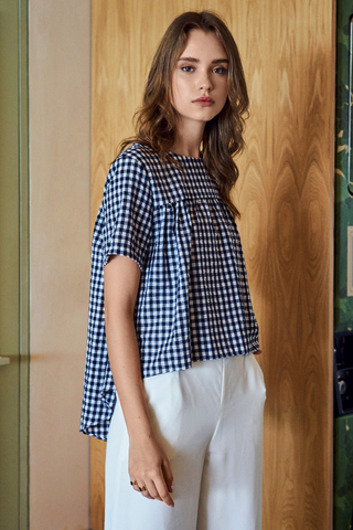 Korine Gingham Babydoll Top