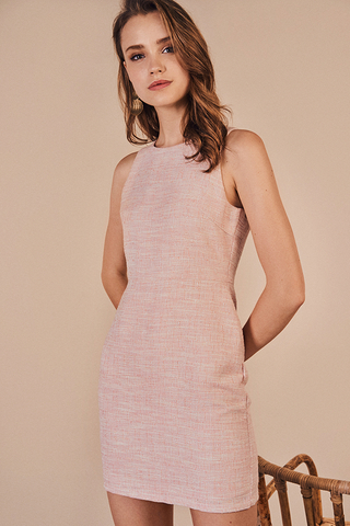 Fenize Tweed Dress in Pink