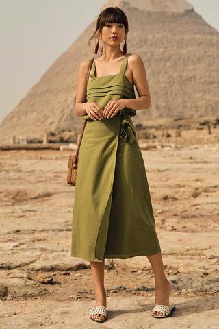 *Restock* Sahure Midi Skirt in Olive