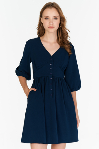 *Restock* Averyn Buttoned Dress in Navy