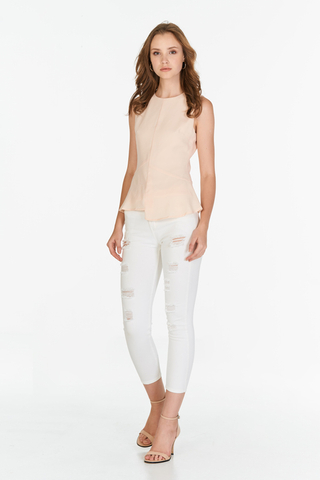 Selene Peplum Top in Nude