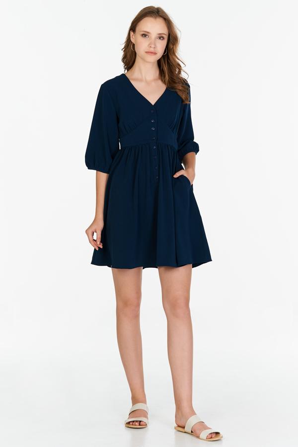 Averyn Buttoned Dress in Navy (XXS)