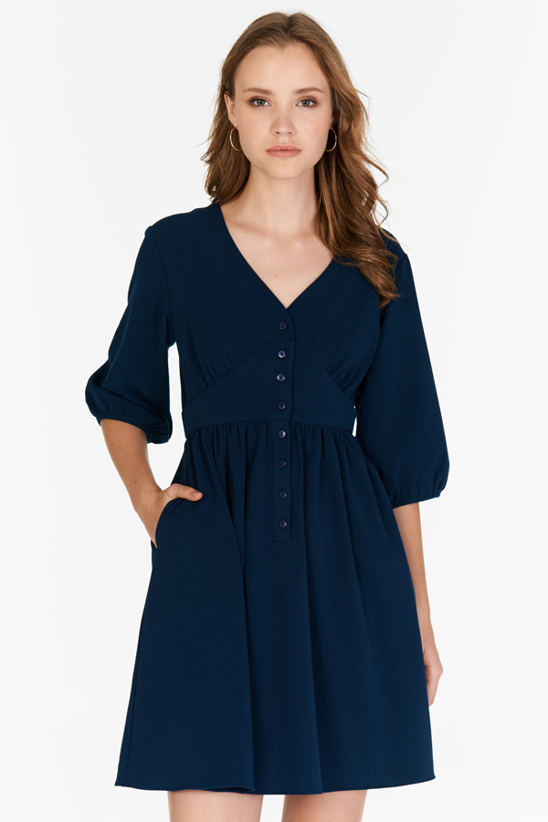 Averyn Buttoned Dress in Navy