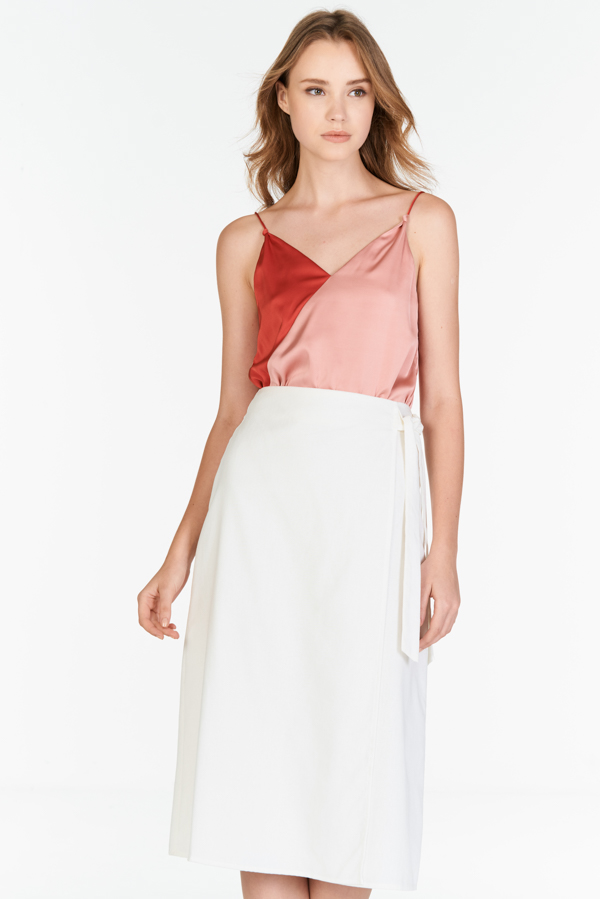 Sahure Midi Skirt in White