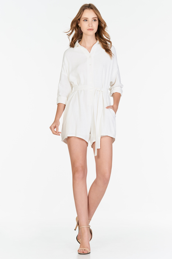 Sacara Sleeved Romper in White