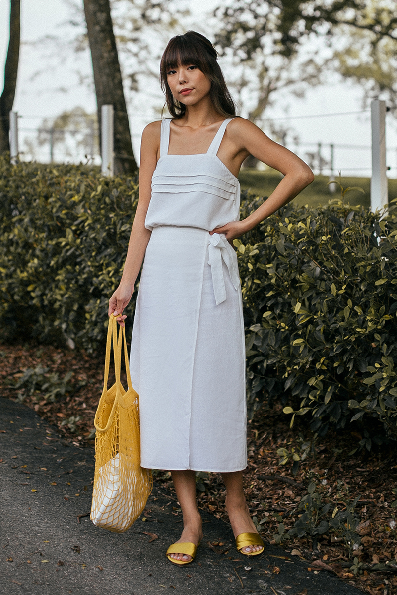 *Restock* Sahure Midi Skirt in White (S/ M)