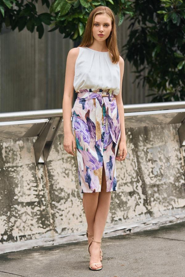 *W. By TCL* Kieryn Paperbag Printed Skirt