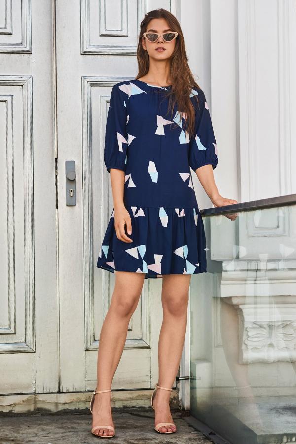 Lindsey Geometric Printed Sleeve Dress