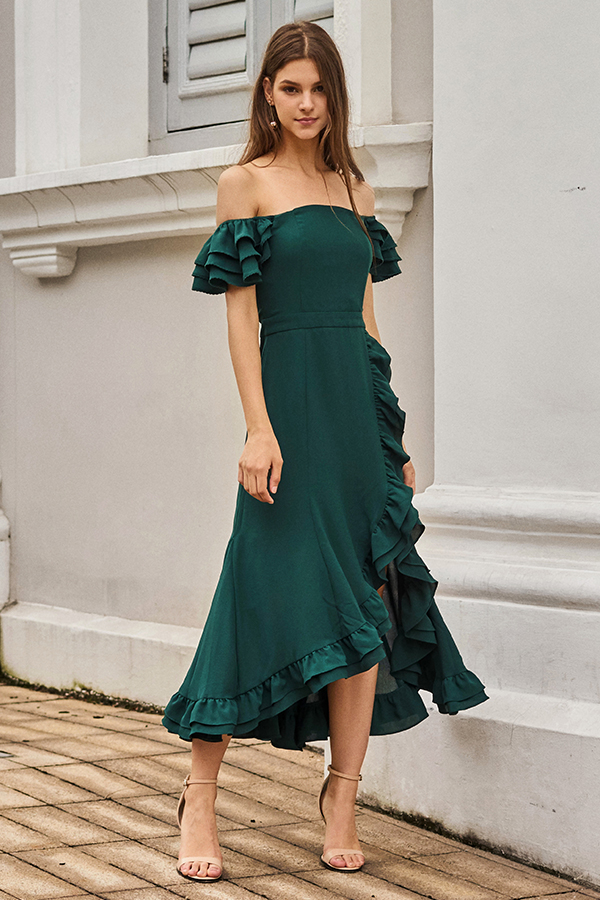 *Backorder* Maisha Ruffles Midi Dress in Forest Green