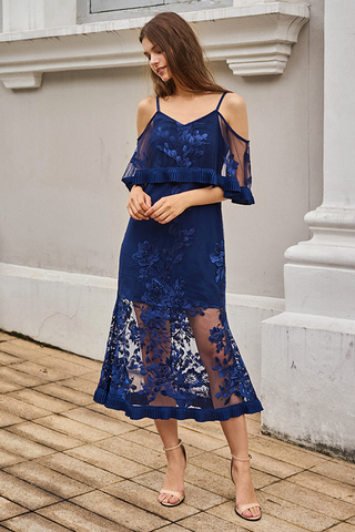 Lune Embroidered Maxi Dress in Navy