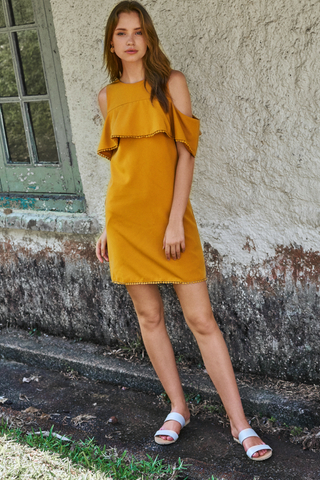 Meredith Crochet Hem Dress in Marigold