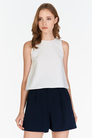 Maia Belted Shorts in Navy