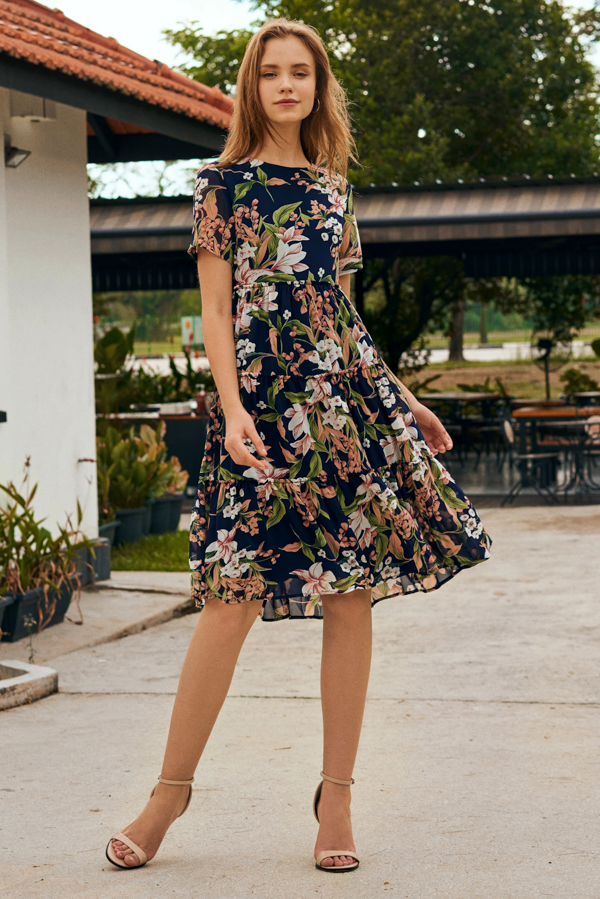 Adriella Floral Printed Midi Dress