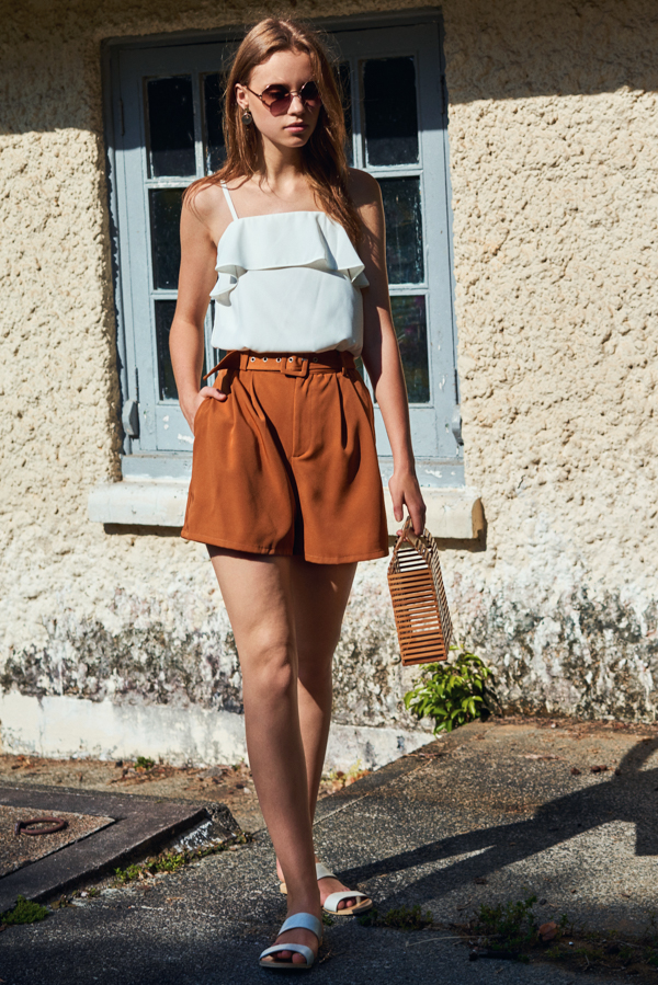 Maia Belted Shorts in Camel