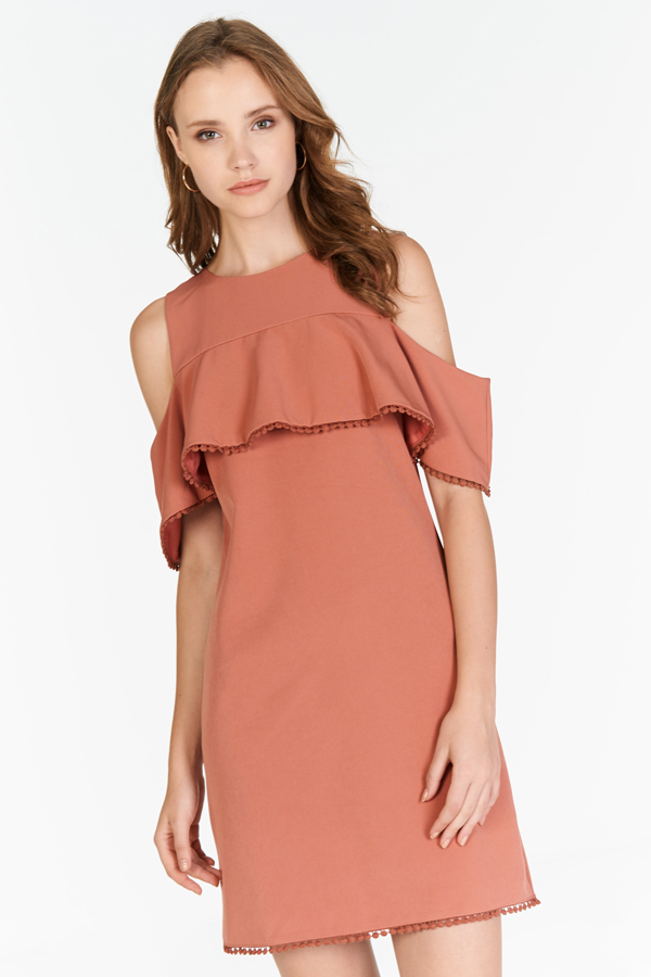 Meredith Crochet Hem Dress in Terra Cotta
