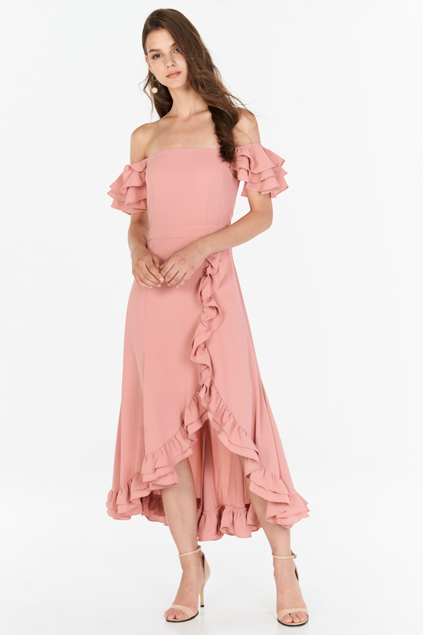 Maisha Ruffles Midi Dress in Pink